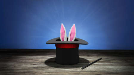Magician hat. Rabbit ears stick out with a black top hat with a red ribbon and a magic wand. Blue background with wooden floor. 3d render