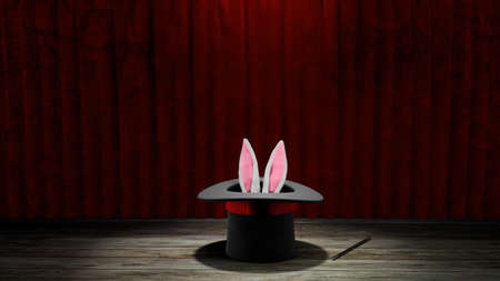 Magician hat. Rabbit ears stick out with a black top hat with a red ribbon and a magic wand. Red curtain with wooden floor. 3d render. 免版税图像
