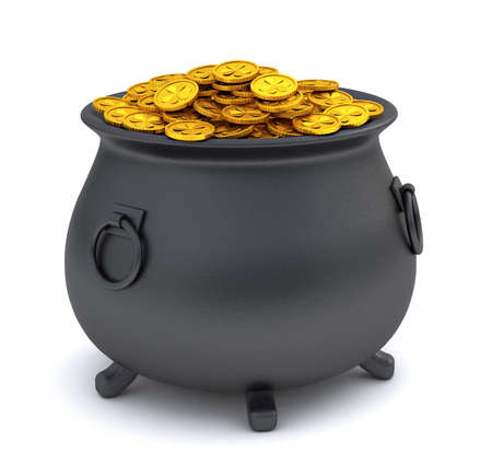 St. Patricks Day. Treasure pot full of gold coins. isolated on white background. 3d render