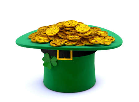 St. Patricks Day. Green Leprechaun Hat with Clover Inverted upside down and a lot of gold coins. isolated on white background. 3d render 免版税图像