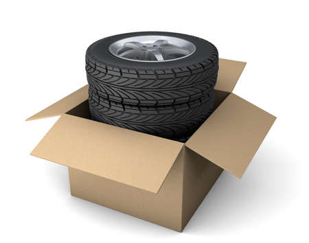 Set of four tires with disks in a cardboard box for order delivery. isolated on white background. 3d render Фото со стока