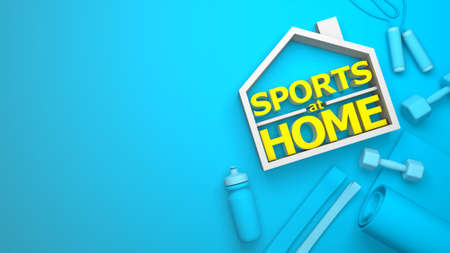 Sports at home. Sports equipment and place for text. Dumbbells, bottle, green yoga mat. 3d render. Copy space for text