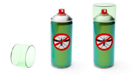 Mosquito spray. Insect protection. Aerosol metal can of green color. isolated on white background. 3d render