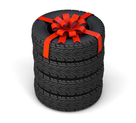 Tires as a gift. Set of four tires, one tied with a red gift ribbon with a bow. isolated on white background. 3d render