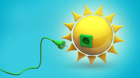 Solar energy. Sun with a socket and a green cable with a plug. Blue background. 3d render