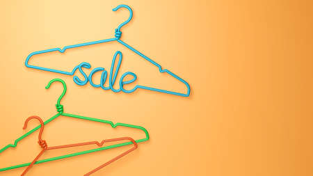 A hanger with the inscription SALE in green on an orange background. Copy space for text. 3d render