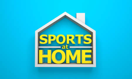 Sports at home. 3d render. Copy space for text Фото со стока