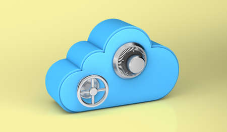 Cloud storage is as secure as a safe. Yellow background. 3d render
