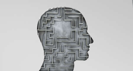 Human head and inside a maze with an empty area. 3d render