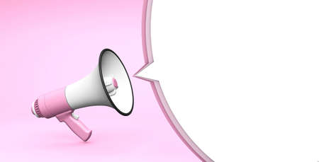 Pink megaphone and bubble on a pink background. Template with copy space for text for design. 3d render 免版税图像