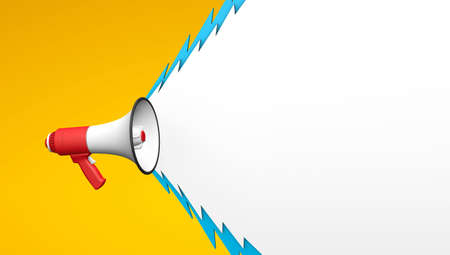 Shout from a megaphone in the form of lightning. Red megaphone on a yellow background. Template with copy space for text for design. 3d render 免版税图像