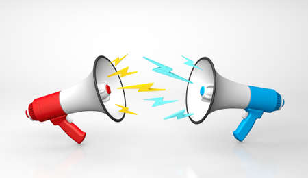 The concept of a quarrel or shout at each other. The red and blue megaphone swear at each other. 3d render
