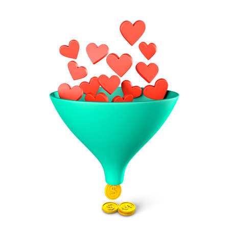 Like sales funnel. Hearts fall into a funnel and you get money coins. Profit from social networks concept. isolated on white background. 3d render 免版税图像