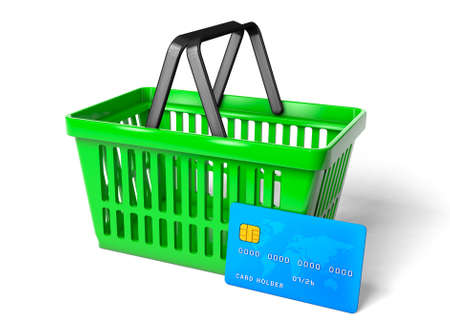 Green shopping basket and blue credit card isolated on white background. 3d render