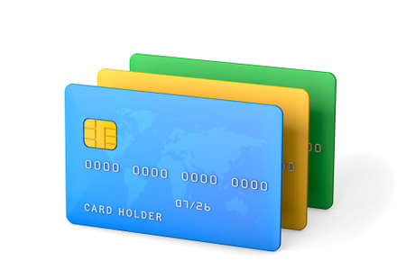 Credit cards isolated on white background. 3d render Фото со стока