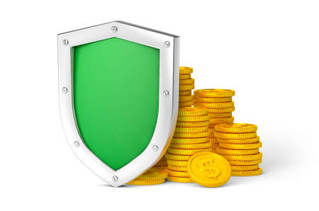 Money protection. Green shield and coins. Isolated on white background. 3d render Фото со стока