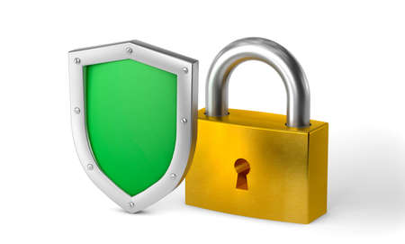 Green shield and gold lock. Concept Double protection, privacy of information or data. Фото со стока