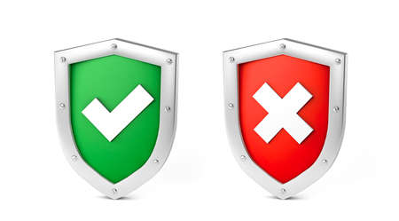 Set, green shield with check mark and red with cross. Concept is approved or rejected. isolated on white background. 3d render 免版税图像