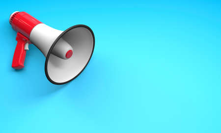 Red megaphone loudspeaker on a blue background. Copy space for text. 3d render 免版税图像
