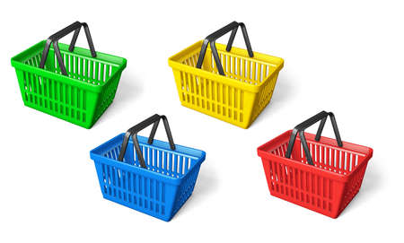Set color shopping basket green and yellow and blue and red. isolated on white background. 3d render