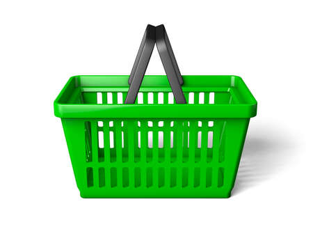 Green shopping basket one side. isolated on white background. 3d render
