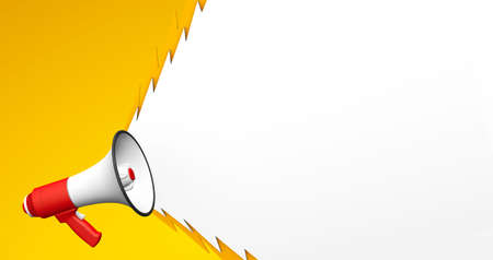Red megaphone with a ragged screaming bubble on a yellow background. 3d render. Copy space for text