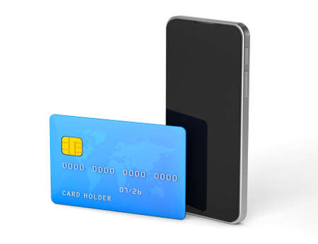Pay by credit card using your phone. isolated on white background. 3d render