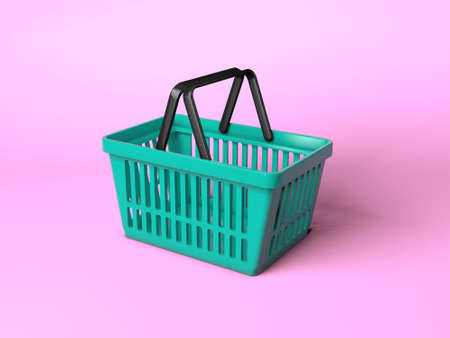 Green shopping basket on a pink background. 3d render 免版税图像