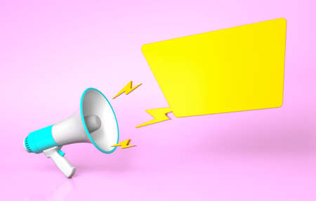 Green megaphone and yellow bubble on a pink background. template blank. 3d render 免版税图像
