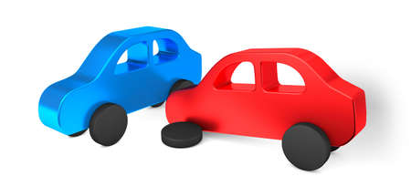 Car accident. The red car drove into the side of the blue one. Car insurance. Isolated on white background. 3d render
