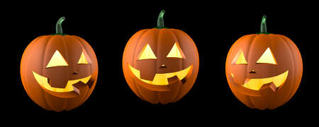 Halloween pumpkin. Smiling funny face. Isolated on black background. 3d render