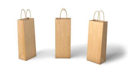 Kraft paper bag for bottles. Mockup Template Isolated On White Background. 3d render