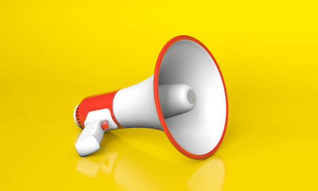 Red megaphone loudspeaker on yellow background. 3d render