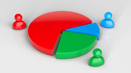 Round pie chart. Distribution of market share between companies. 3d render