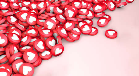 Many likes close up texture of hearts on a pink background. Copy space for text. 3d render