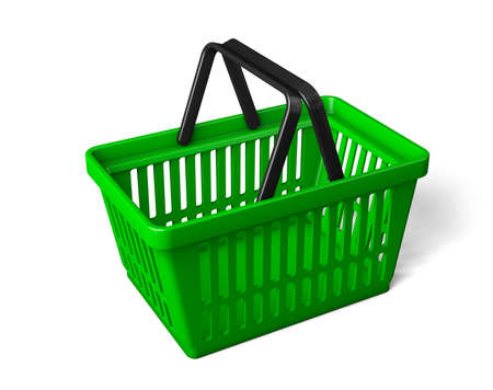 The green shopping basket is turned sideways. isolated on white background. 3d render
