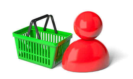Shopping basket and shopper. isolated on white background. 3d render Фото со стока