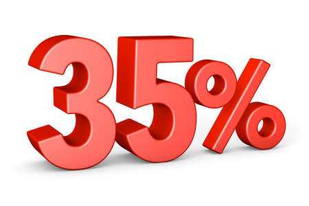 35 percent. Red thirty-five percent. isolated on white background. 3d render Фото со стока