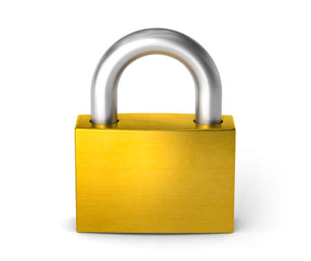 Closed lock. The padlock. isolated on white background. 3d render