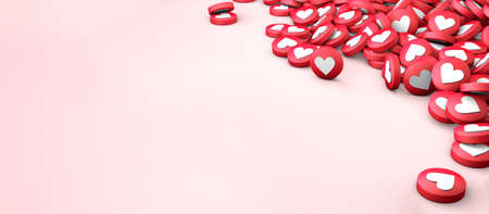 Many likes texture of hearts on a pink background. Copy space for text. 3d render