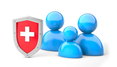 Family medical protection. Family insurance. Shield with a cross and family. isolated on white background. 3d render