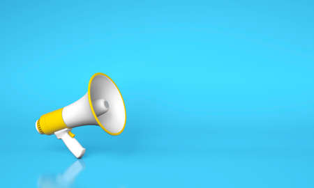 Yellow megaphone loudspeaker on a blue background. Copy space for text. 3d render