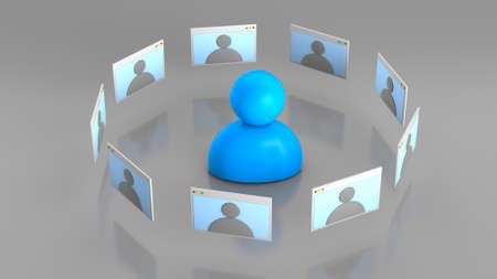 Video conferencing, work remotely, online meeting. Man and browser window with video calling. 3d render