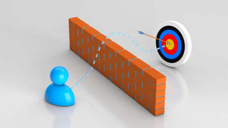 Hit the target. Solving a problem or obstacle in business and getting a successful result. Man and brick and target with an arrow in the center. 3d render