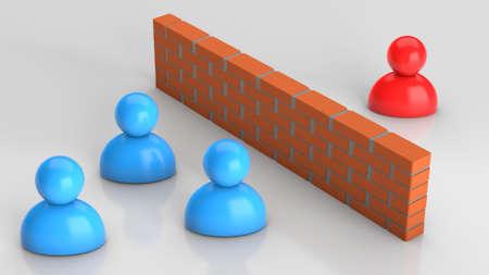 Misunderstanding between businessmen, conflict. Businessmen and a brick wall between them. 3d render Фото со стока