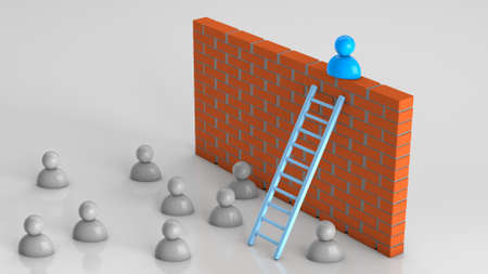 Solutions to business problems. The businessman climbed the stairs to the brick wall, a successful way out of the situation. 3d render