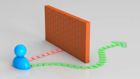 Different ways to solve business problems. Businessman and hedge brick wall and workarounds or solutions. 3d render
