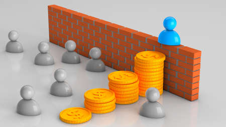 Solving business problems with money. Chelevek walked through the stacks of coins bypassing the obstacle or problem. Brick wall and crowd. 3d render