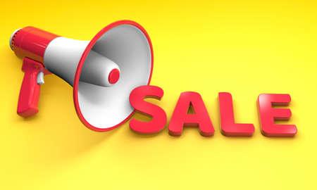 Red word SALE on a yellow background near a loudspeaker megaphone. 3d render Фото со стока