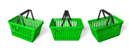 Set Green shopping basket. isolated on white background. 3d render